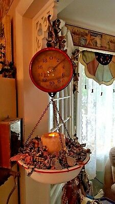 Vintage Jacob Bros.glass Face Hanging Scale With Country Pan ~Beautiful !!!