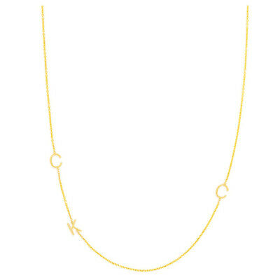 """Personalize 3/8"""" Sideways Three Initials Necklace in Yellow Gold Plated Silver"""