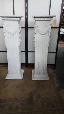 Fab Pair Of Tall White Carved Roman / Corinthian Style Timber Pedestals / Stands