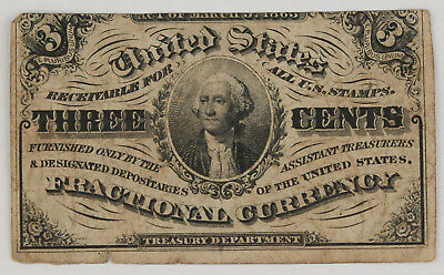 1864-1869 Fractional 3 Cent Currency Note 3rd Issue VF Very Fine Fr-1226