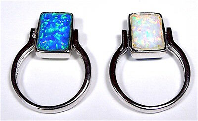 Reversible Blue & White Fire Opal Solid 925 Sterling Silver Ring sizes 6 - 8