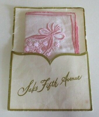 Vintage Saks Fifth Avenue - Ladies Embroidered Handkerchief - Original Packaging