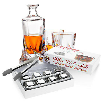 8 Pcs Whisky Stones Ice Cubes Chilling Rocks Stainless Steel Drinks Reusable UK