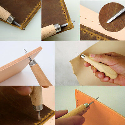3/4/5/6mm Leather Craft Hand Stitching Sewing Tool Rhombus Awl Thimble DIY Tools