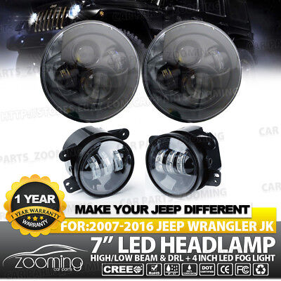 """7"""" 80W CREE LED Projector Headlights Halo with Fog Light Combo For 07-17 Jeep"""