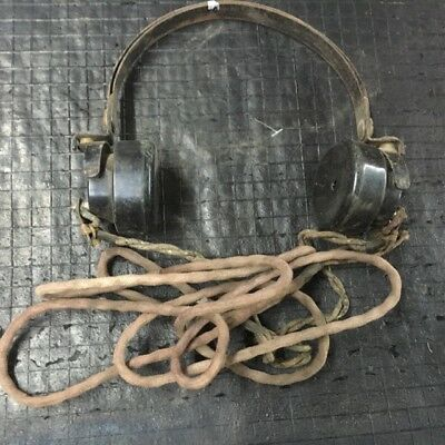 Vintage Headset Antique Military Headphones Old Army Field Radio Phone