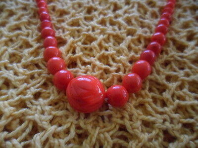 Antique Vintage Red Czech Glass Bead Necklace Rockabilly Rock N Roll Mod Pinup