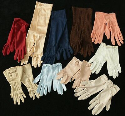 Stunning Bulk Vintage Ladies Glove Collection 1950's, 60's. 70's- 10 Pairs