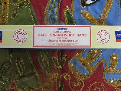 Natural Satya Nag Champa Californian White Sage Indian Incense 16 sticks 15gm