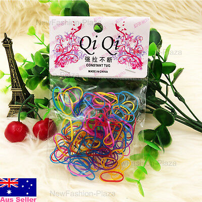 New 100Pcs Premium Hair Elastics Ties Babies Girls Kids Rubber Bands Rainbow 3