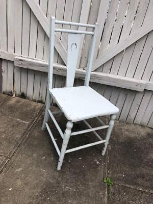 Vintage Rustic Retro Industrial Chair Wooden White Shabby Chic Event Wedding