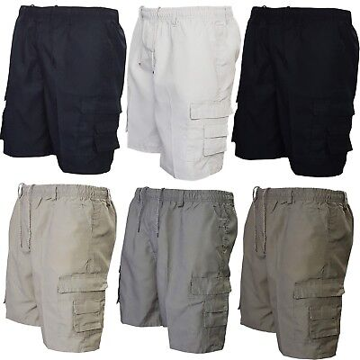New Mens Elasticated Cargo Combat Plain Shorts 7 Pockets Zip Fly Cotton M - 3XL