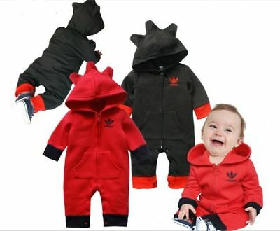 Baby Boys Girls Long Sleeve Cotton Hood Romper Jumpsuit One Piece Size 00,0,1,2