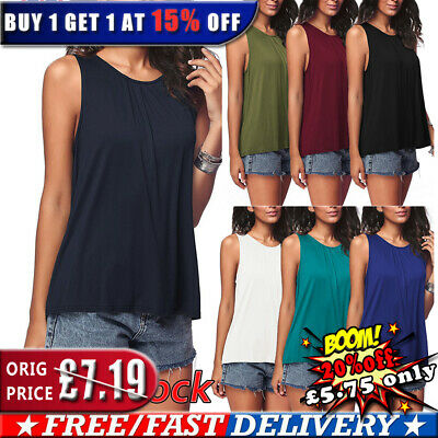 UK Womens Summer Casual Sleeveless Vest Tops Blouse Ladies Loose Shirt Plus Size