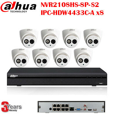 Dahua Kit 8CH NVR2108HS-8P-S2 4MP POE Built-in Mic Camera IPC-HDW4433C-A 4TB HDD