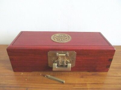 Vintage Chinese Wooden Mahogany And Brass Lockable Jewellery Trinket Box
