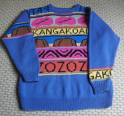 Vintage 1980's hand knit Jenny Kee design 100% Wool Australiana Great Condition