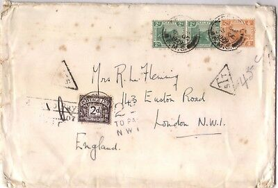 1929 Malaya FMS stamps SENTUL cover to GB 2d postage due stamp