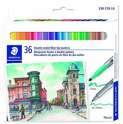 STAEDTLER PACK OF 36 TWIN FIBRE TIP PENS 0.5-0.8mm /& 3.0mm NEW DRAWING WRITING