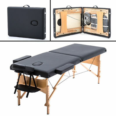 """New BestMassage 2"""" Pad 84"""" Black Massage Table Free Carry Case Bed Spa Facial T1"""
