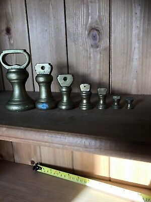 Set Of Brass Weights For Kitchen Scales