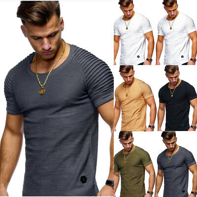 Men's Slim Fit O Neck Short Sleeve Muscle Tee T-shirt Casual Tops Summer Shirts