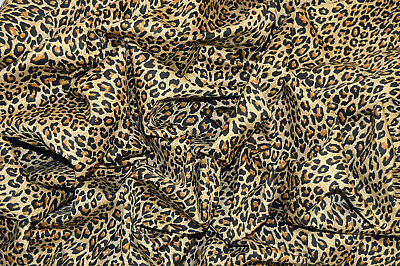 "Punk Natural Leopard Animal Print Stretch Cotton Twill Fabric 55"" Width"