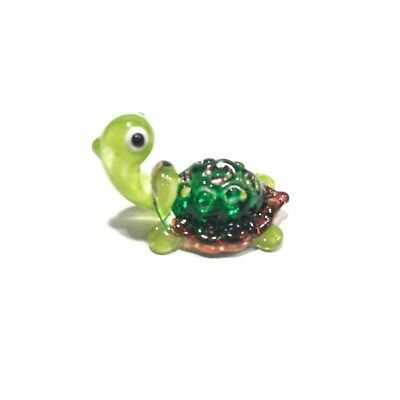 Hand Blown Turtle Miniature Blow Glass Collectible Figurines Reptiles Decor
