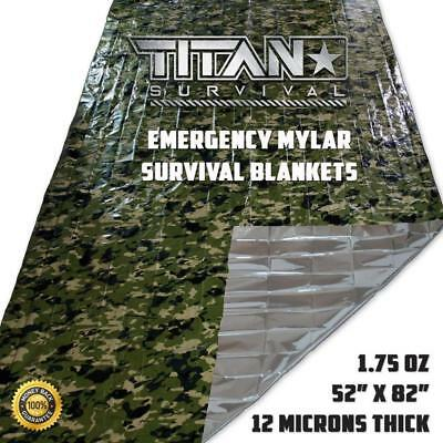 Titan  Emergency Camo Foil Survival Blanket Bushcraft Survival First Aid