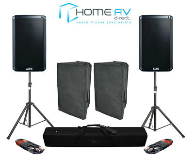 "TWIN Alto TS312 12"" 4000W Active DJ PA Speakers + Tripod Stands + XLR's + Covers"