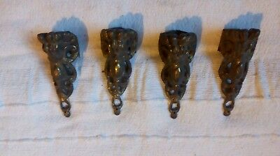 set 4 gilt bronze ormolu lion claw feet french furniture rare antique fittings