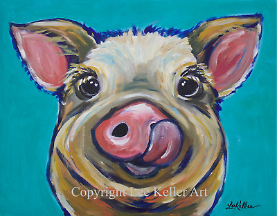 Pig Art Print signed by artist pig decor cute colorful pig art 8x10