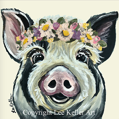 "Pig Art Print, pig print, pig with flower crown, pig art 8x8"", signed by artist"