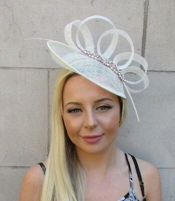 Rose Gold Cream Sinamay Disc Saucer Feather Hat Fascinator Races Wedding 5836