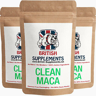Clean Maca Extract Capsules 4,728mg Energy, Mood Sex, Memory British Supplements