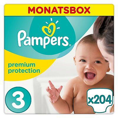 204 Pampers Premium Protection Windeln Gr.3 Maxi (5-9kg) in der Monatsbox