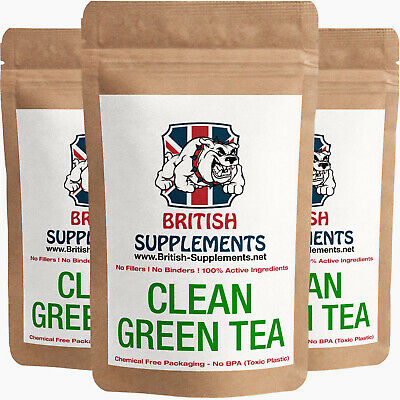 Clean Green Tea Extract Capsules 9,360mg Polyphenols, Catechins EGCG Strong UK