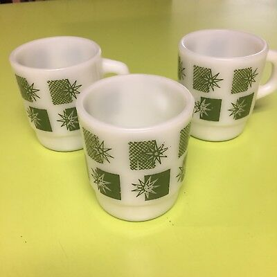 Anchor Hocking Fire King Atomic Starburst Mugs Vintage Set of 3 Franciscan