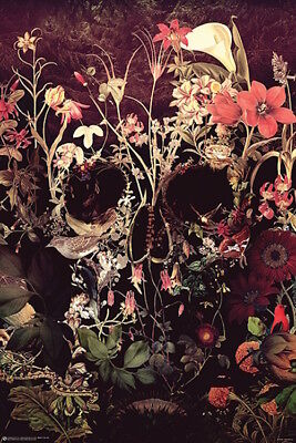 SKULL OF BLOOMS - GOTHIC ART POSTER 24x36 - HALLOWEEN 11330