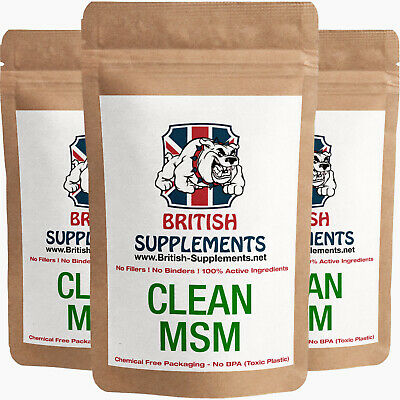 Clean MSM (Methylsulfonylmethane, Sulphar) 1,400mg Veg caps British Supplements