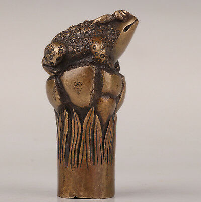 Bronze Statue Toad Sacred Cane Walking Stick Head Handle Accessories