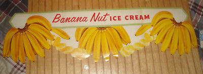 Vintage Ice Cream Paper Advertising Sign Banana Nut Ice Cream Banner 42""