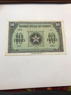 1913 Morocco WWII 10 Francs Banknote
