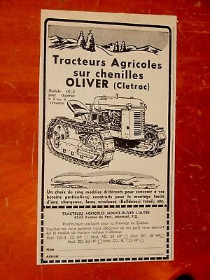 French 1957 Oliver Celtrac Tractor Oc-3 Little Canadian Bulldozer Ad - Vintage