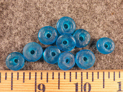 (10) Huron Indian Dutch Trade Beads Sky Blue Fur Trade Era 1700's