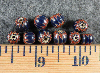(10) Old Red White & Blue Chevron Huron Indian Venetian Trade Beads Fur Trade
