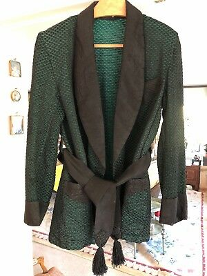 Vintage Smoking Jacket / Bed Jacket In Honeycomb Emerald Green And Black.