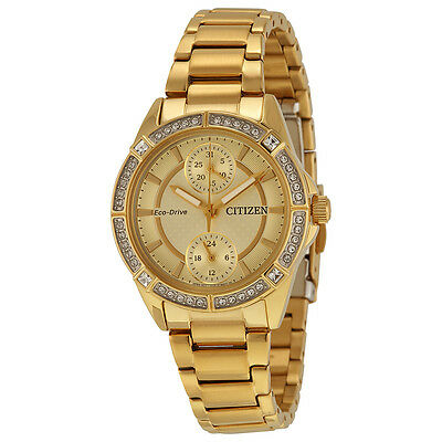 Brand New Citizen Eco-Drive POV Champagne Crystal Dial Ladies Watch FD3002-51P