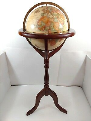 "Vintage 12"" Replogle World Classic Series Globe Bombay Furniture Co Oak Stand"