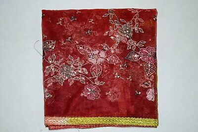 """Exotic Indian Wedding Dupatta Scarf Sequins Embroidery Net Fabric Veil L"""""""